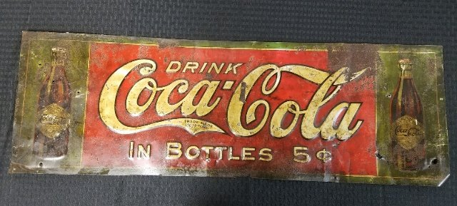 1908 Straight Sided Bottle Coca-Cola Sign