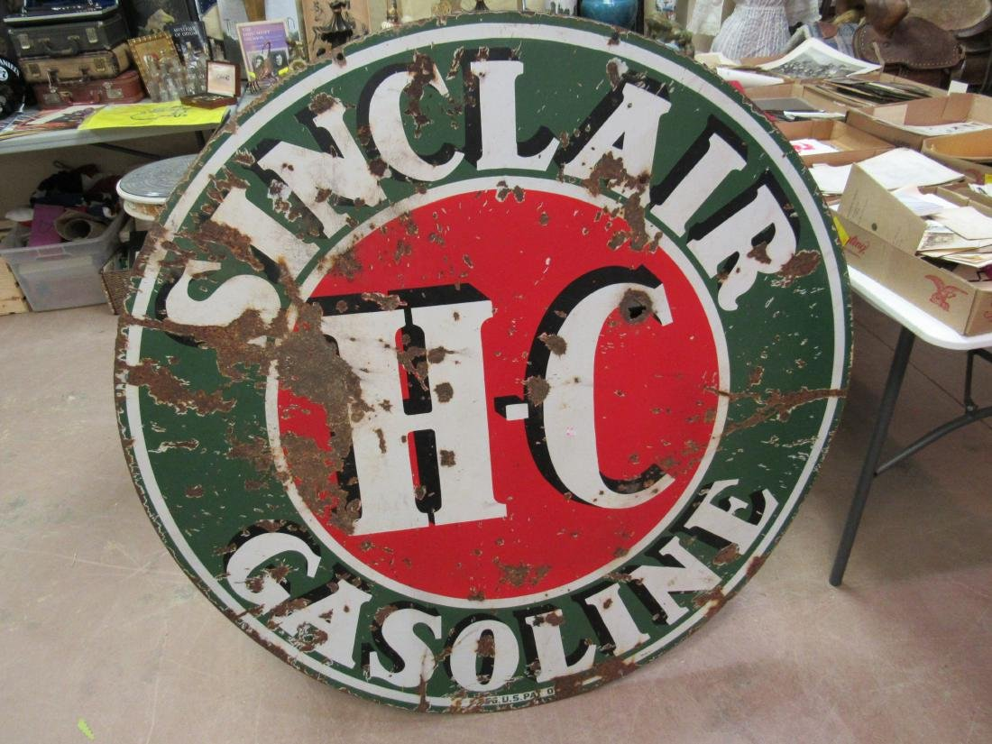 "Early Double Sided 48"" H C Sinclair Gasoline Sign"