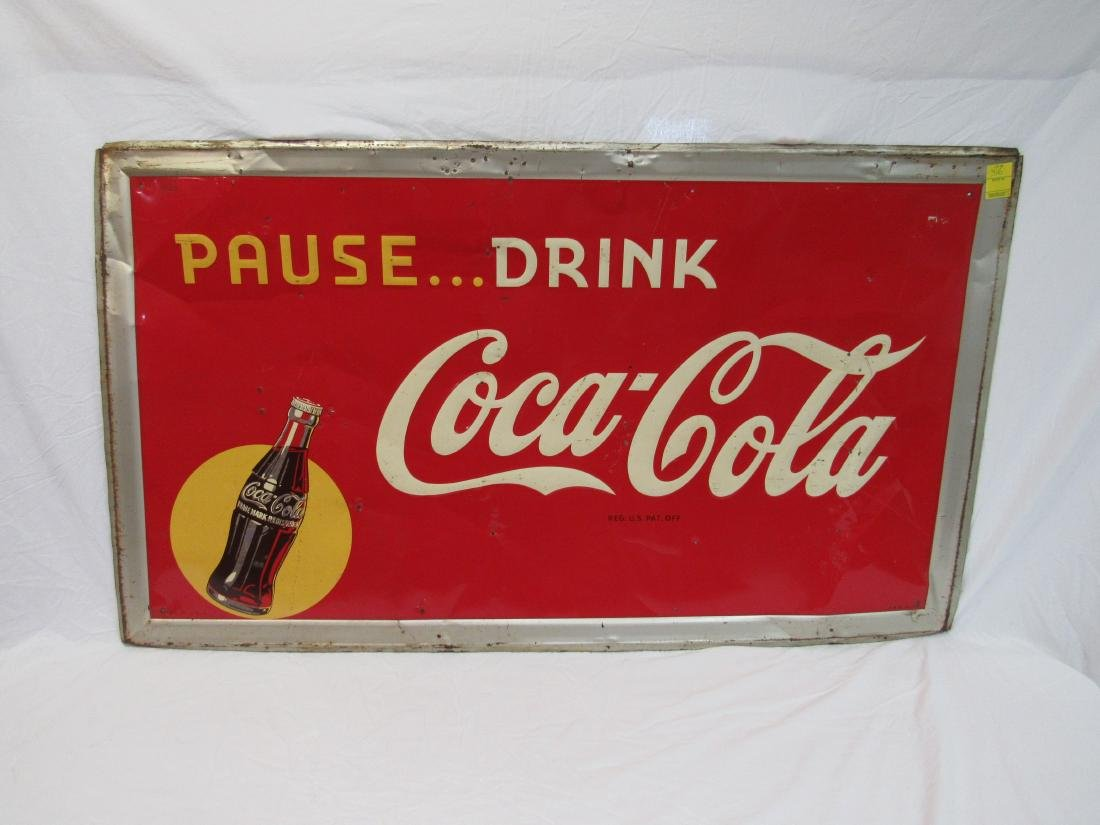 1940s Pause… Drink Coca-Cola Yellow Dot Embossed Sign