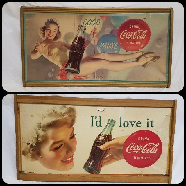 1954 Double Sided Coca-Cola Cardboard Advertising Sign
