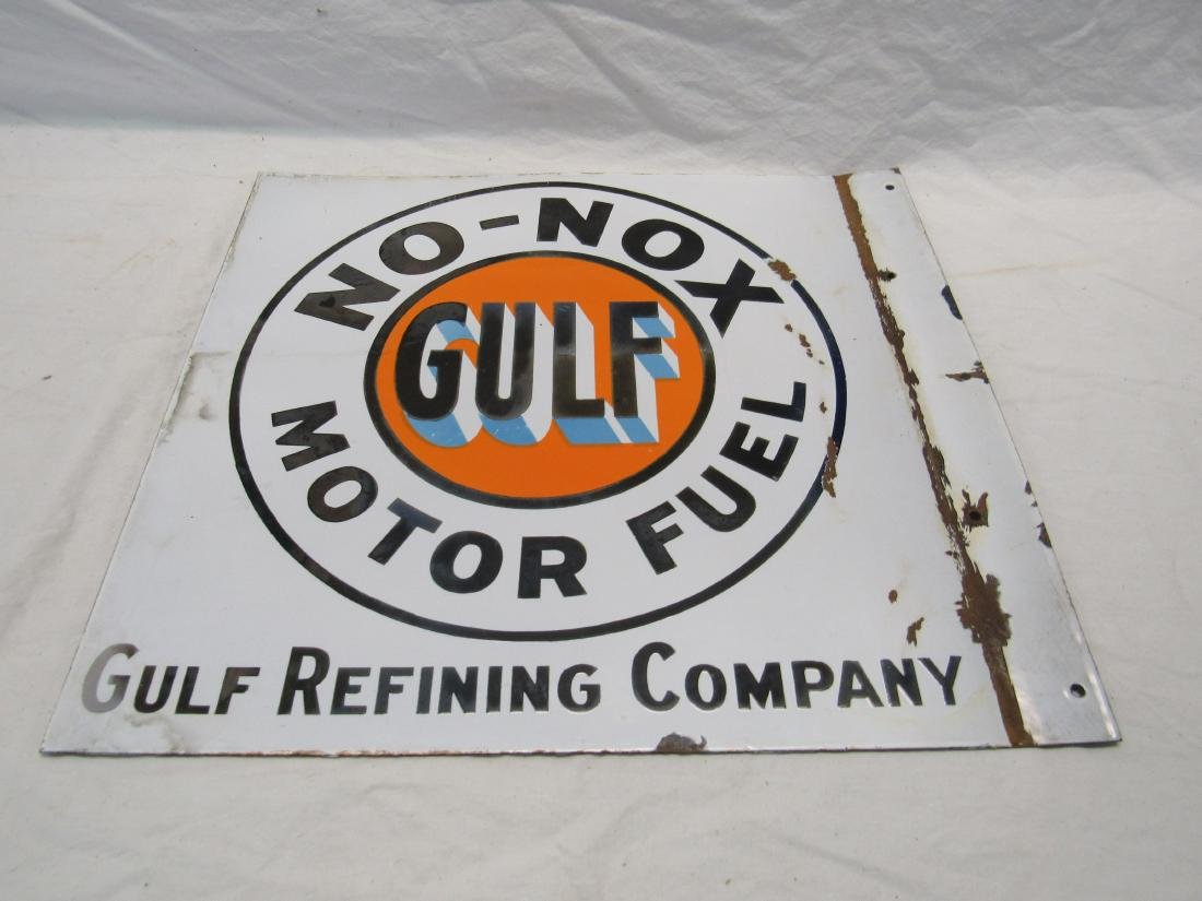 1930s/1940s No-Nox Gulf Motor Fuel Porcelain Flange