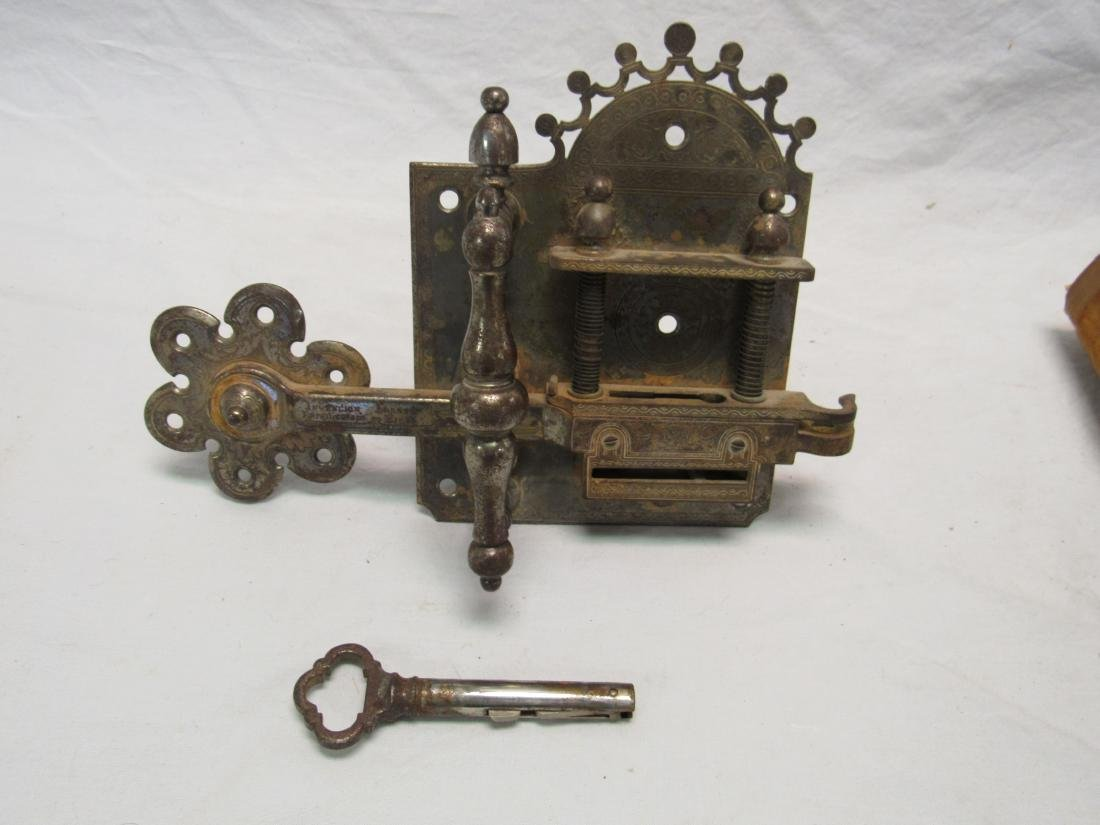 Antique Ornate French Door Lock and Key