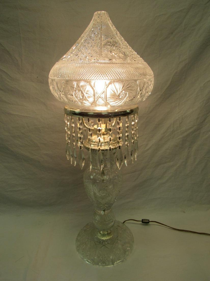 Large Vintage Cut Crystal Lamp with Prisms