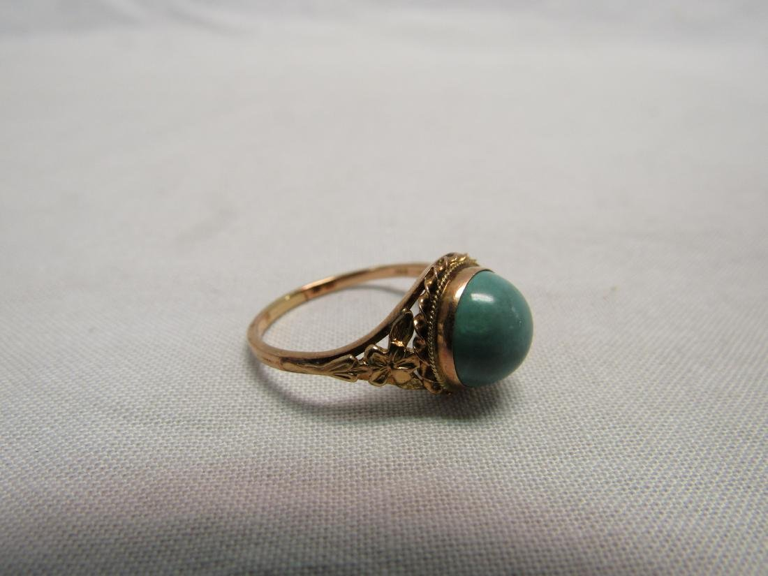 Antique 14K Gold and Turquoise Women's Ring
