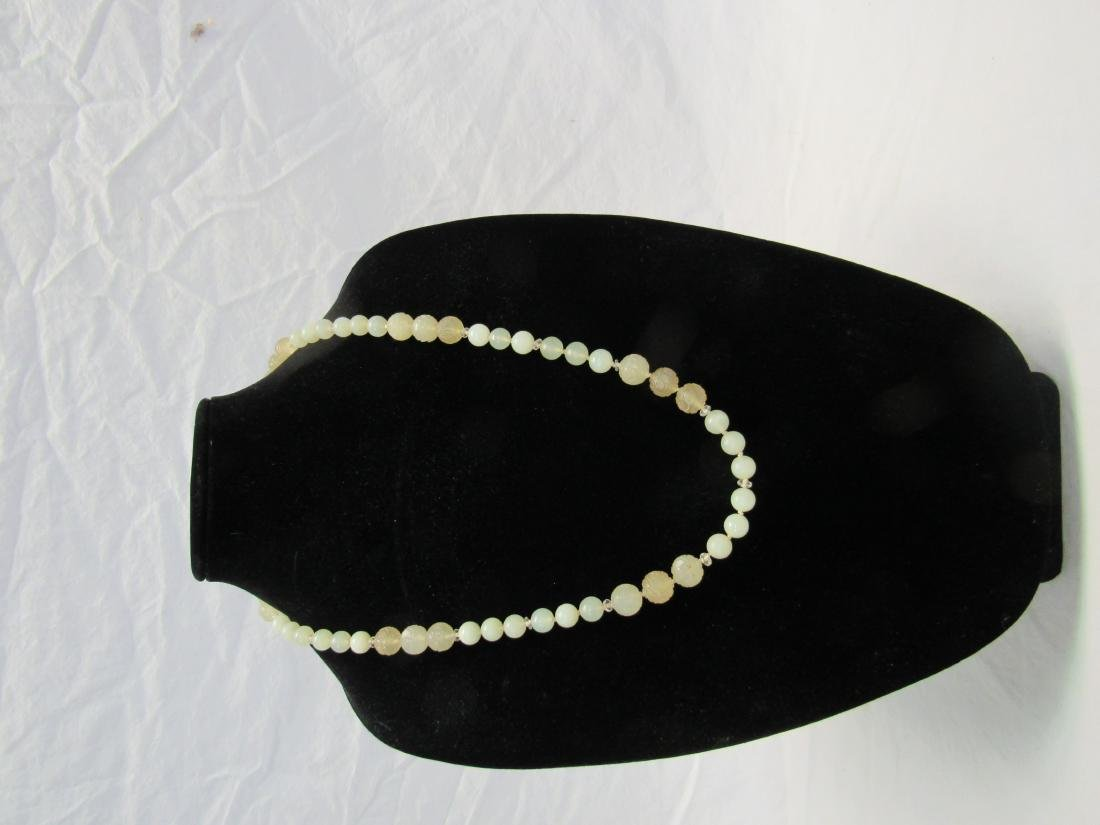 Antique Hand Carved Jade Bead Necklace