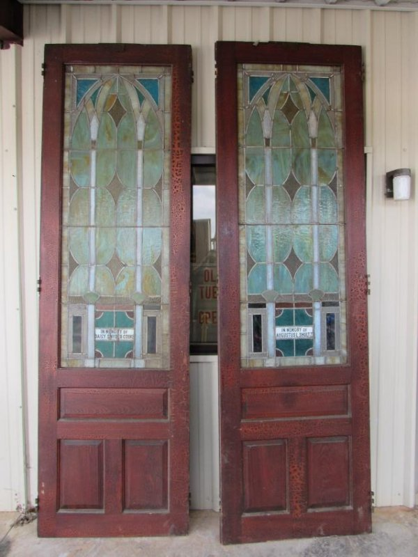 Pair of Stained Glass Church Doors