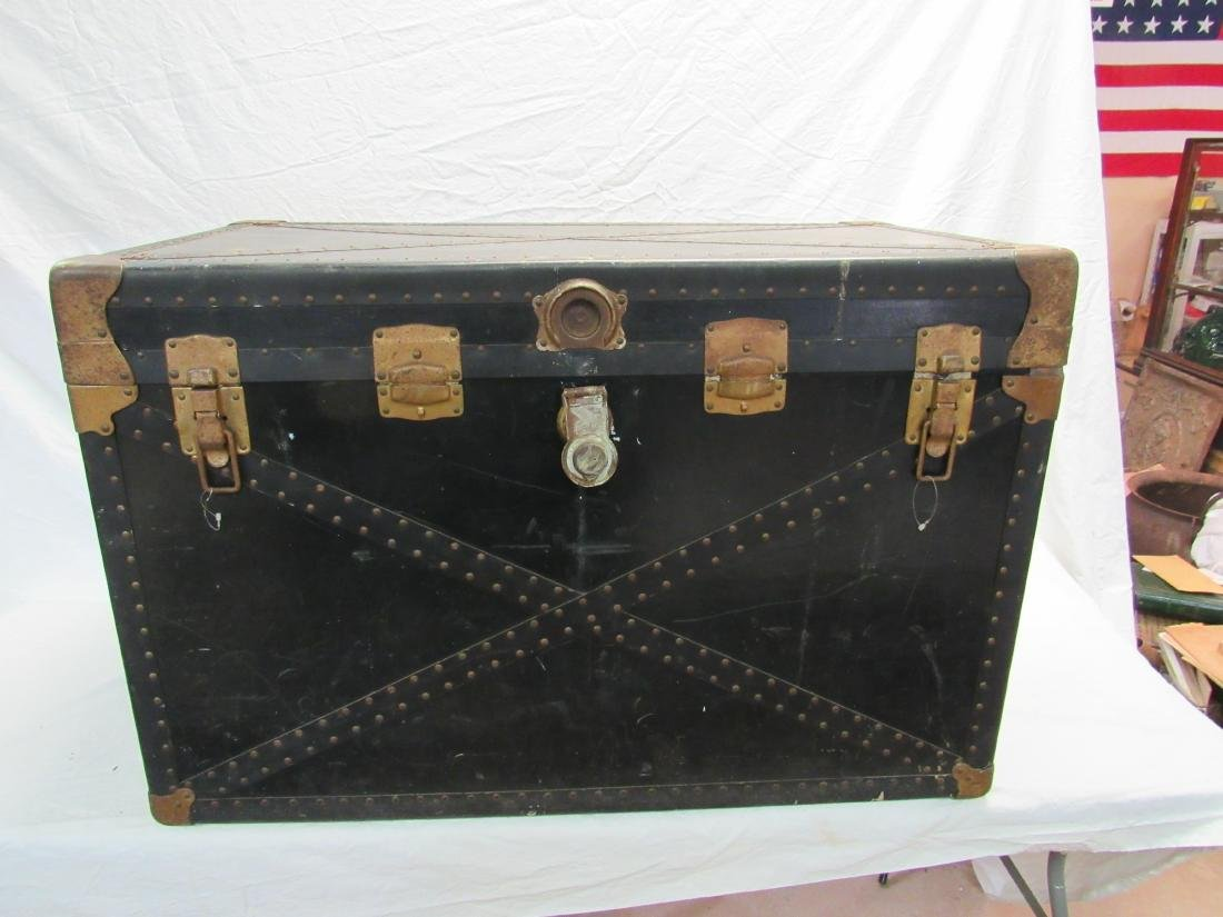 Antique Leather-bound Travel Trunk