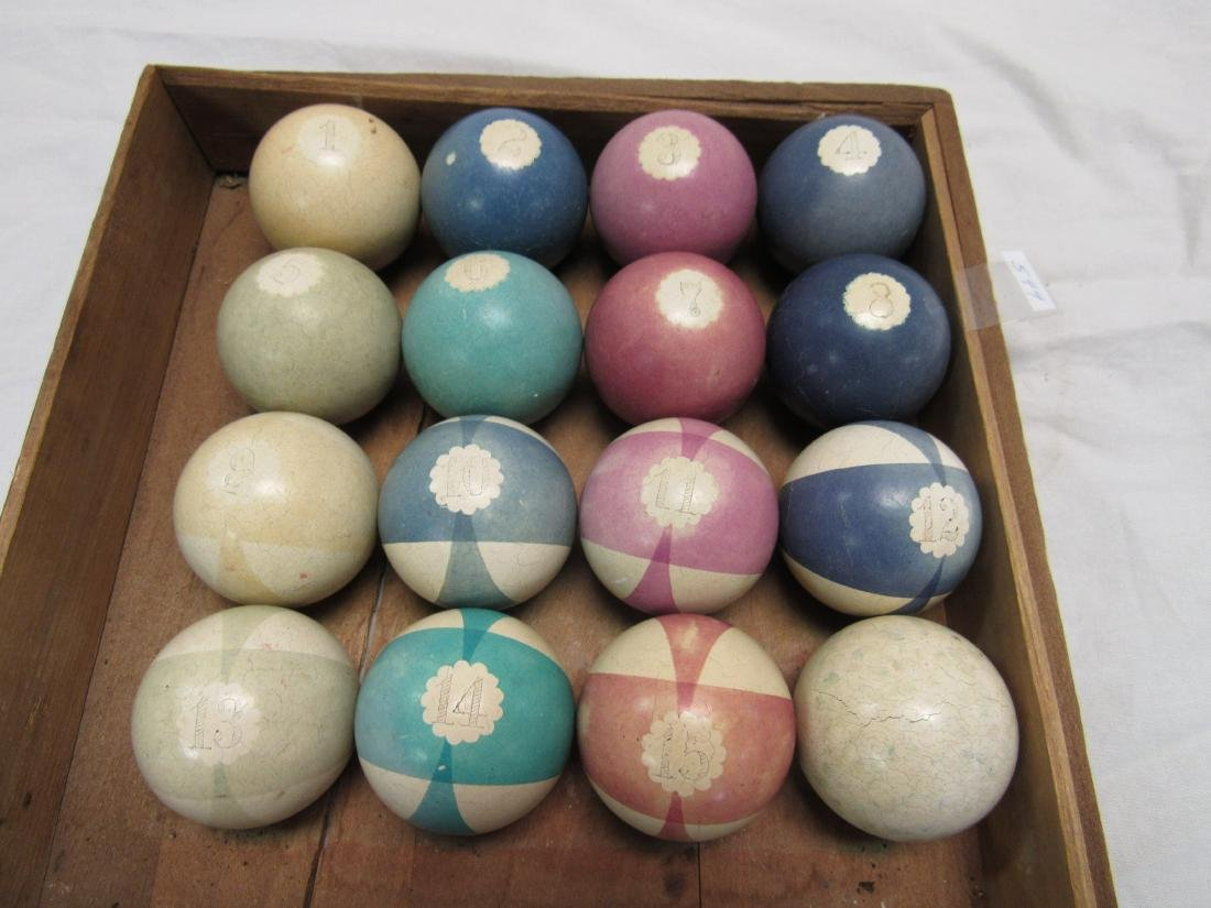 Vintage set of Handmade Clay Snooker Balls
