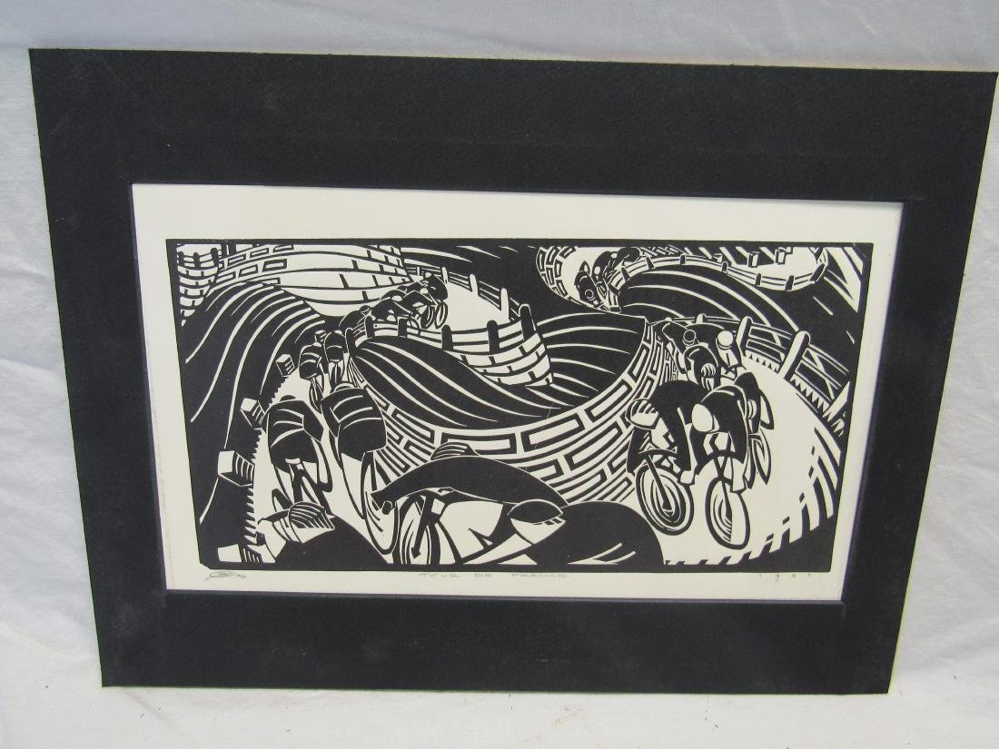 Earl Washington Wood Block Print, Tour De France