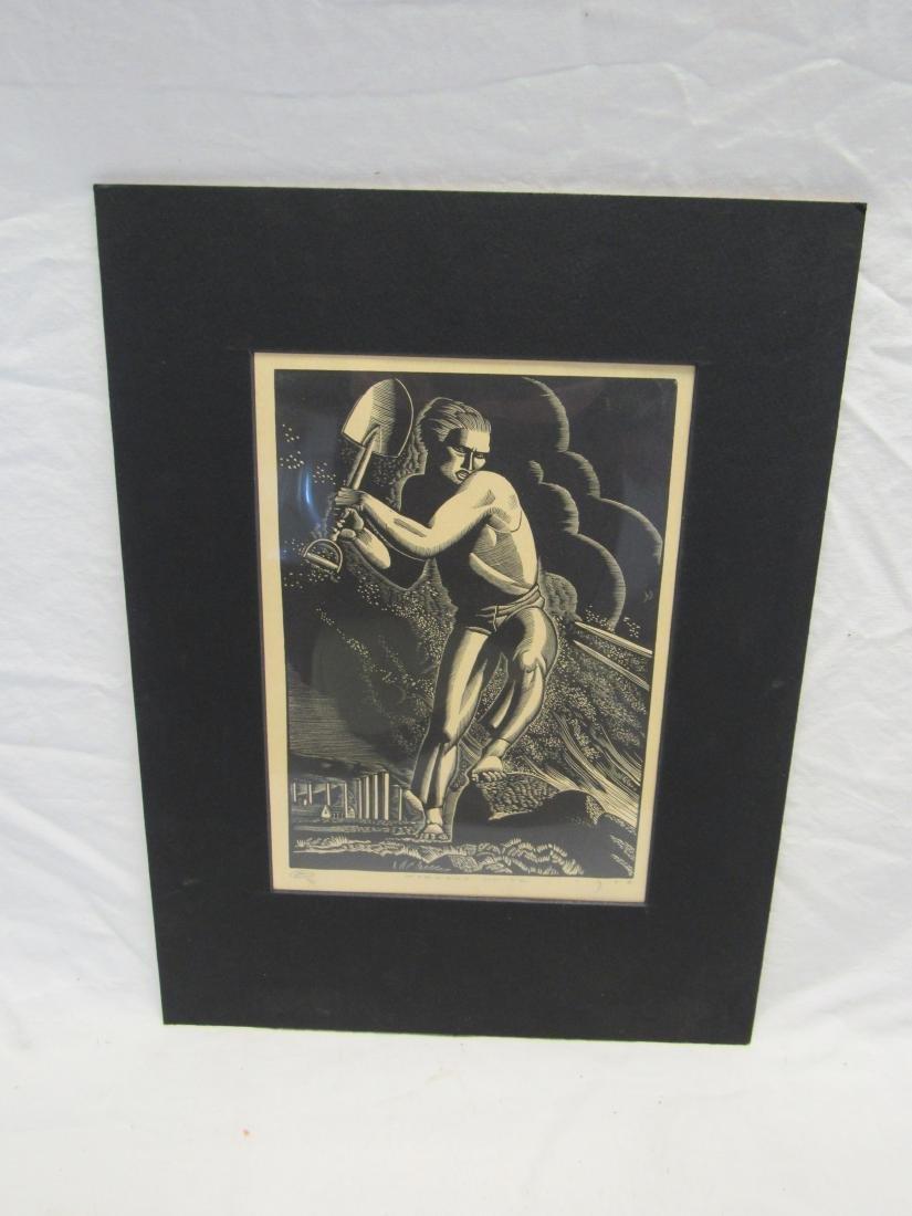 Earl Washington Wood Block Print, Workers Unite