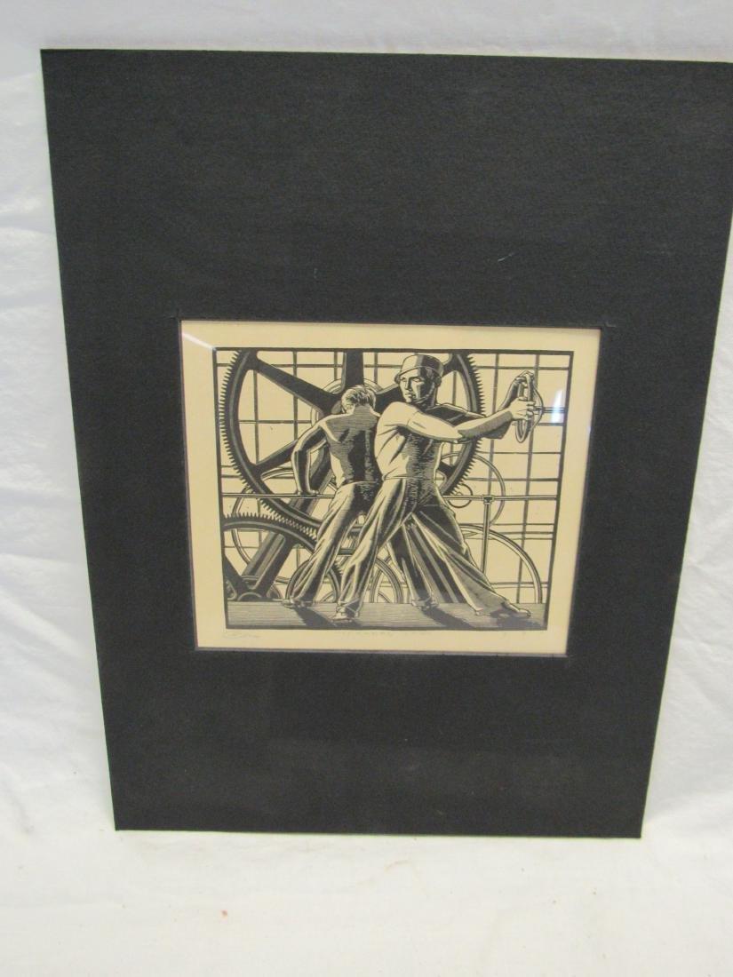 Earl Washington Wood Block Print, Workers Cogs