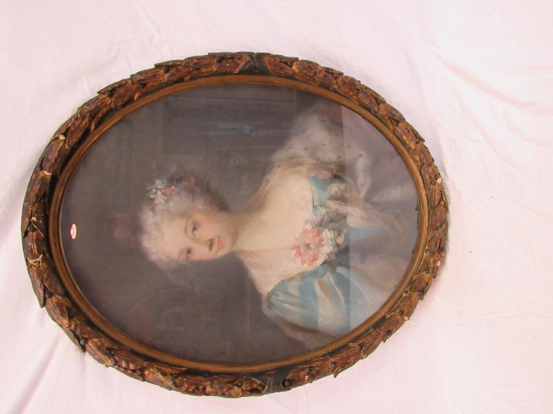 Antique Pastel Portrait in Period Oval Frame