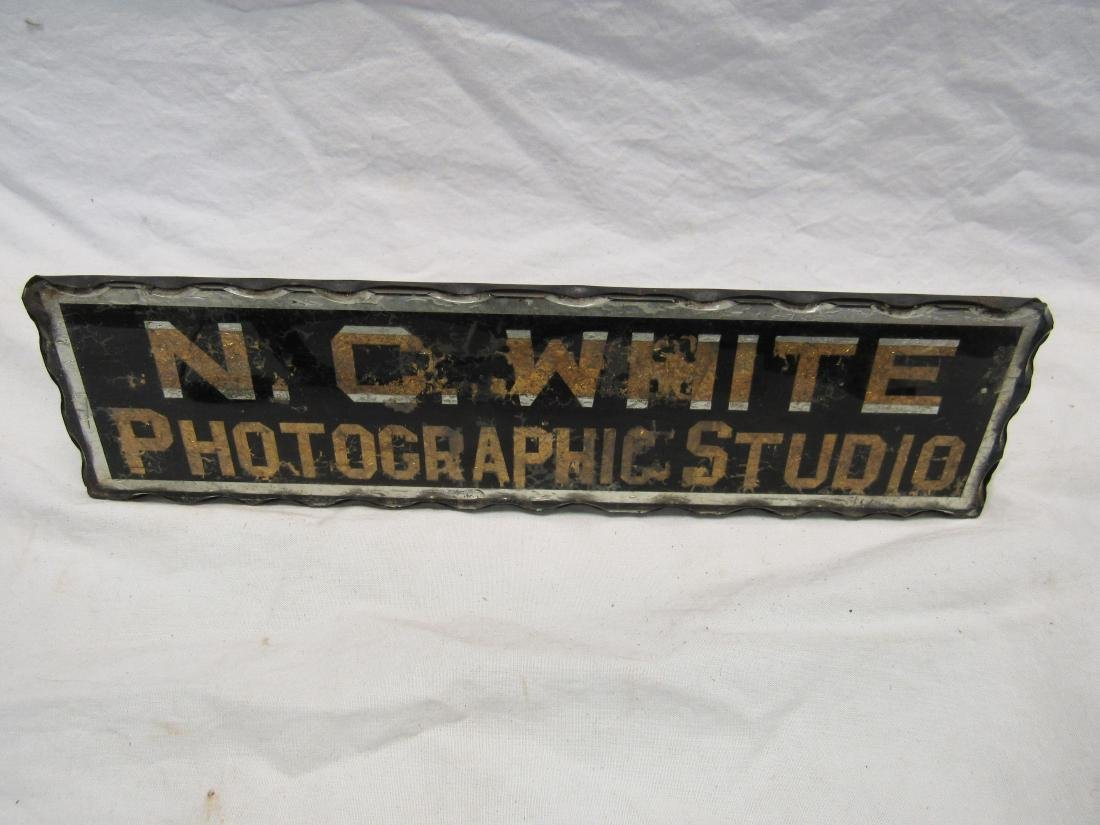 Antique Glass Painted N.C. White Photographic Studio