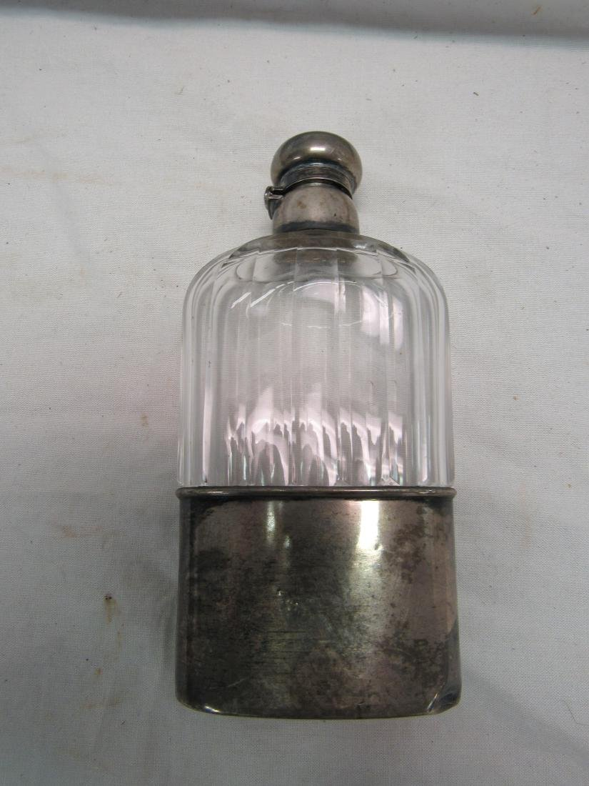 Antique Sterling and Glass Flask