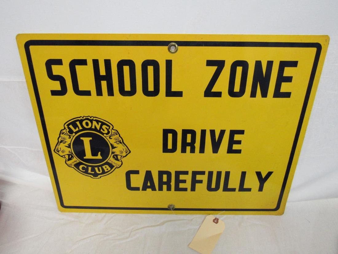 Antique Lions Club School Zone Street Sign