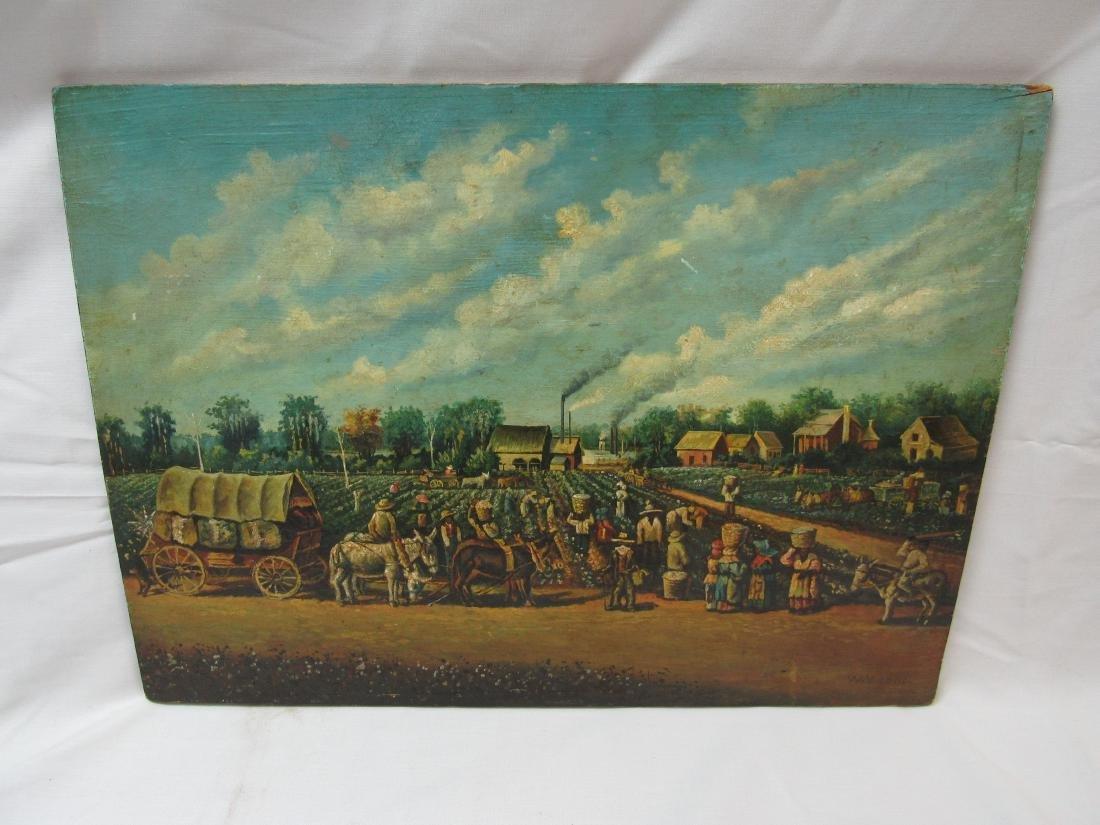 Antique Oil on Board Folk Art, Signed
