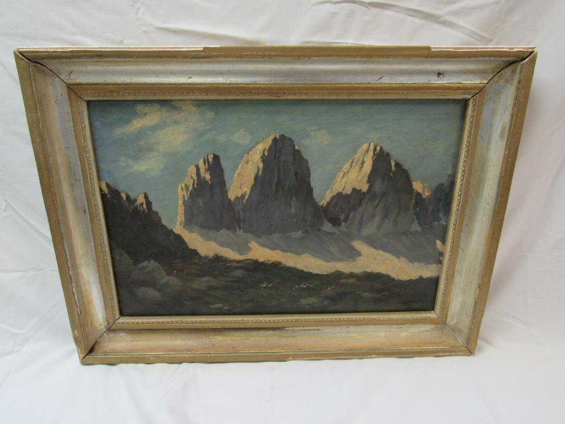 Antique Oil on Canvas Mountain Landscape, Signed
