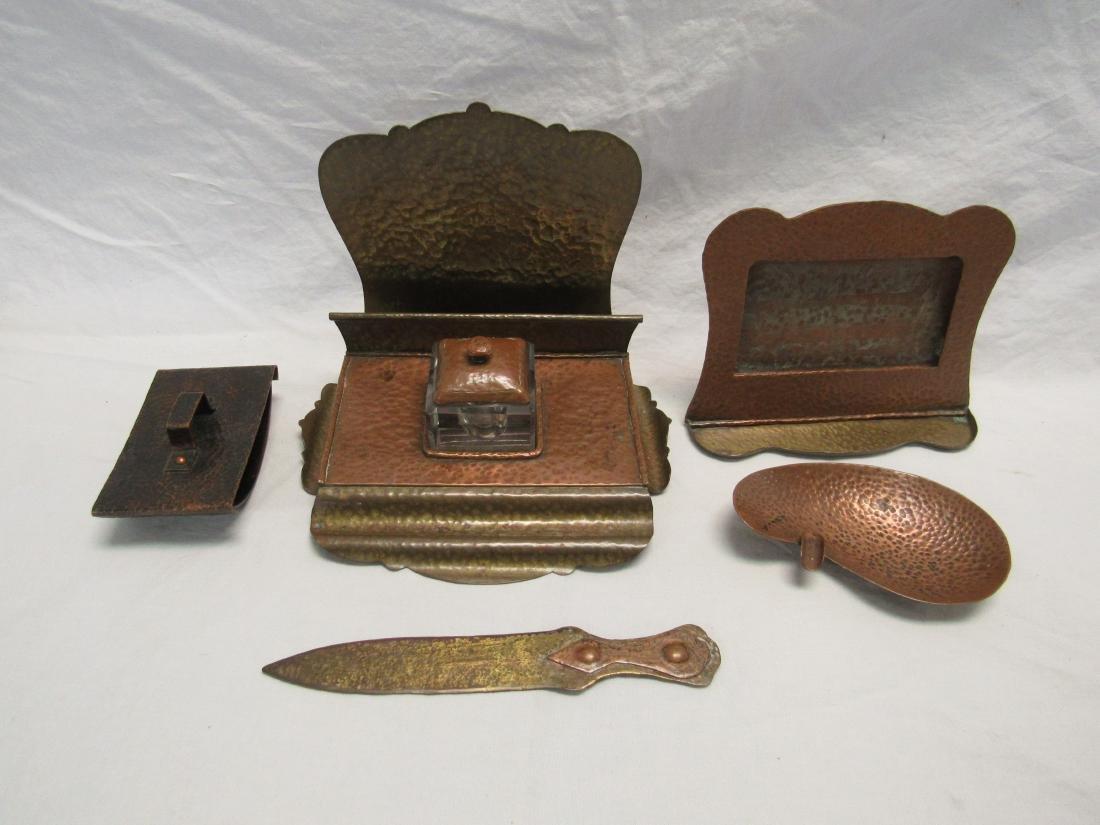 Antique Hammered Copper and Brass Desk Set