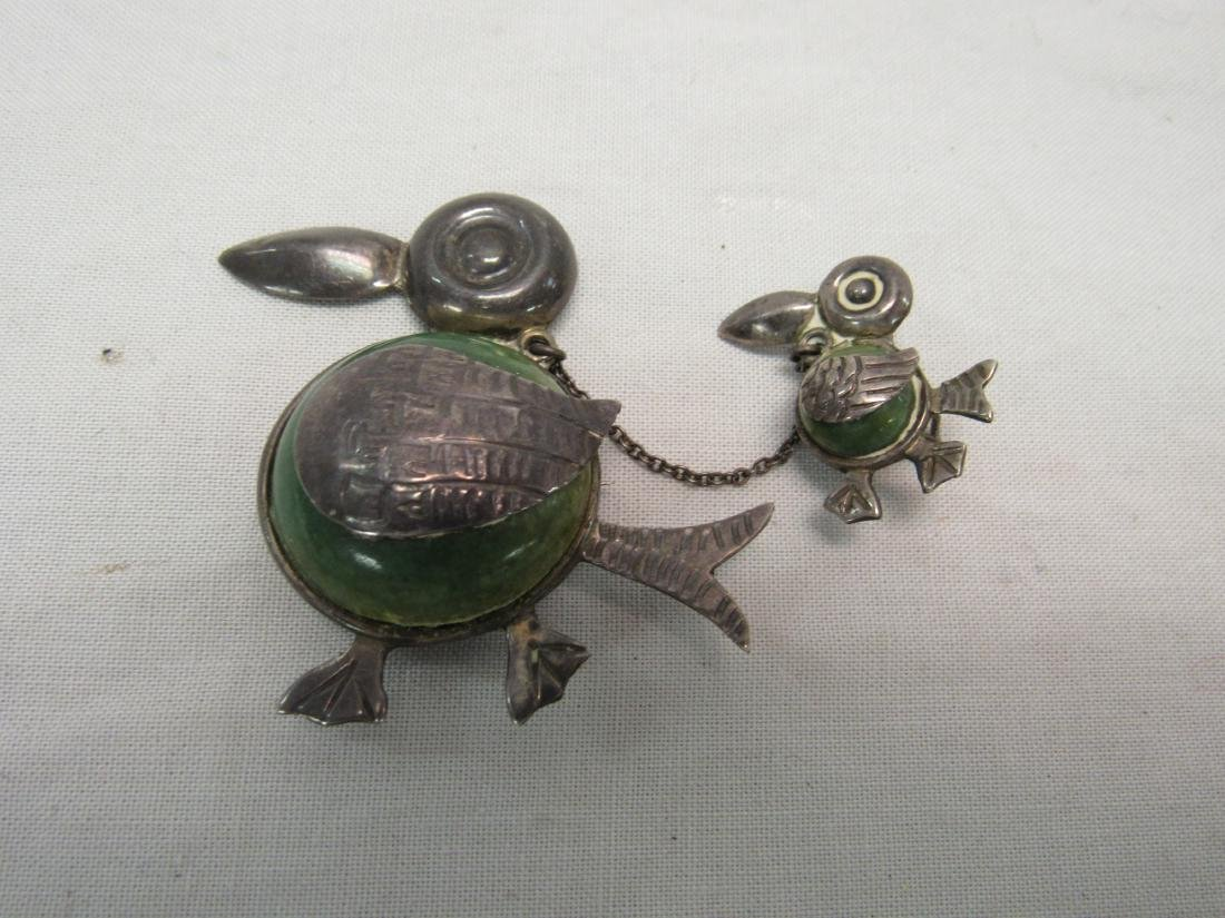 Vintage Sterling Silver and Jade Brooch