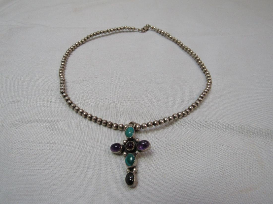 Vintage Sterling Amethyst Turquoise and Onyx Necklace