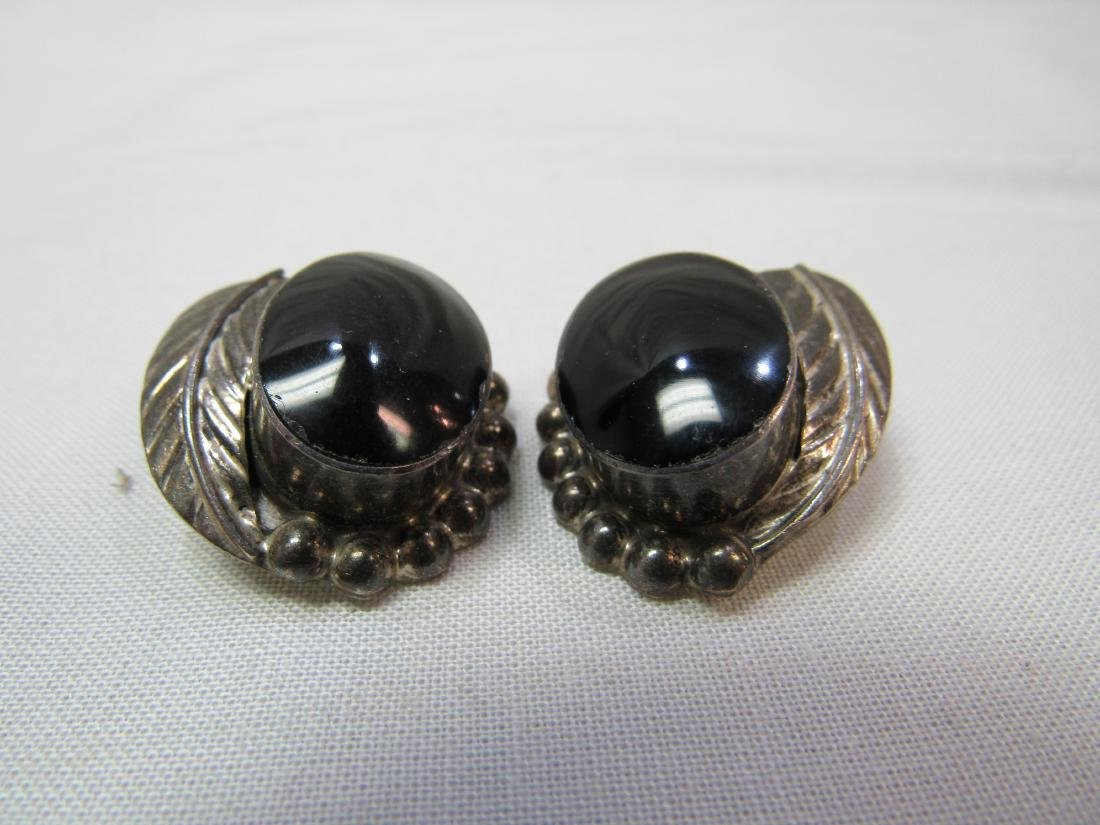 Sterling and Black Onyx Clip On Earrings