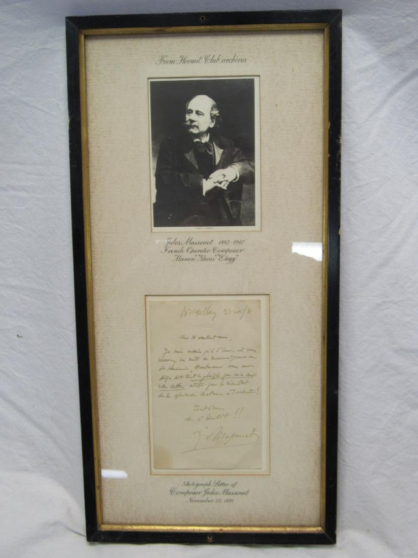 Autographed Letter of French Opera Composer Jules