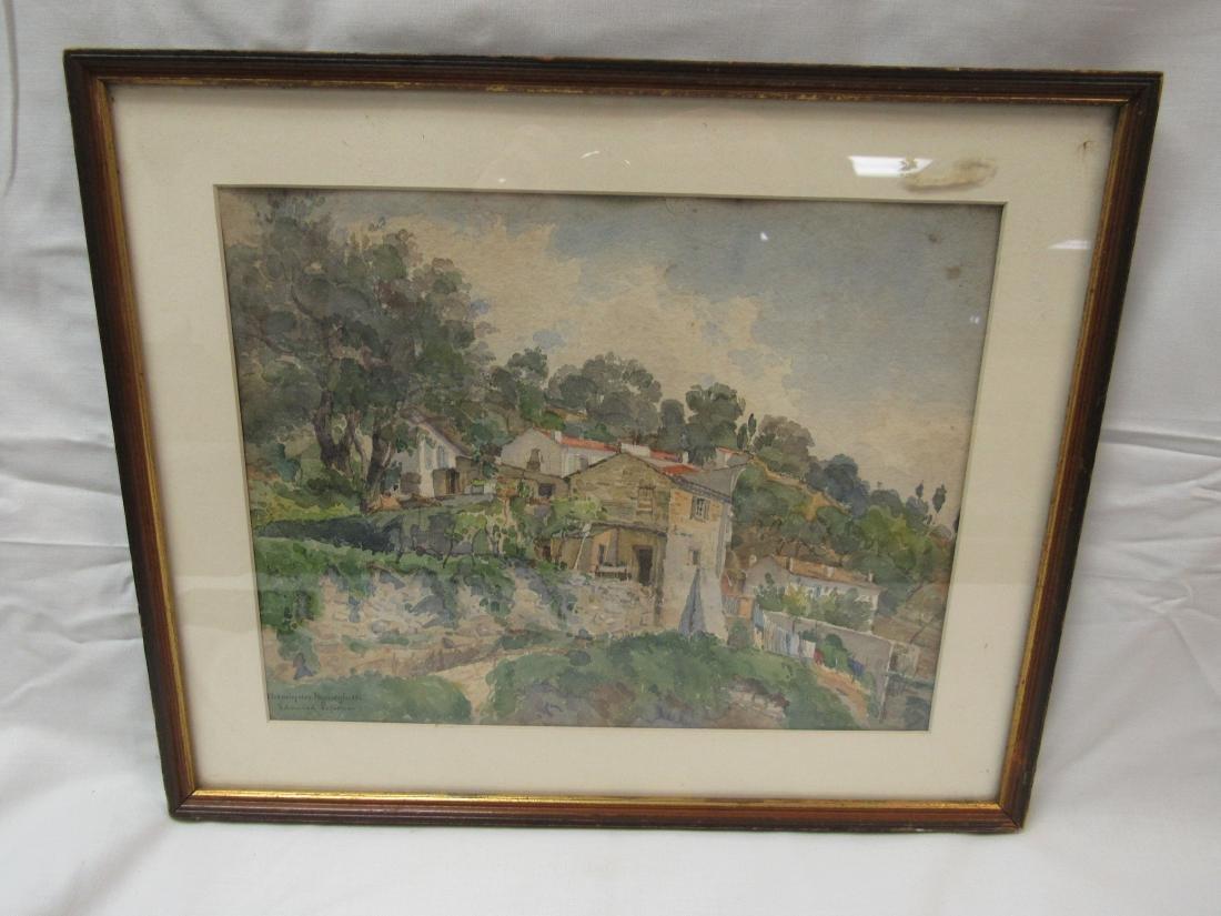 "Signed Edouard LeFevre Watercolor, ""Chemin De"