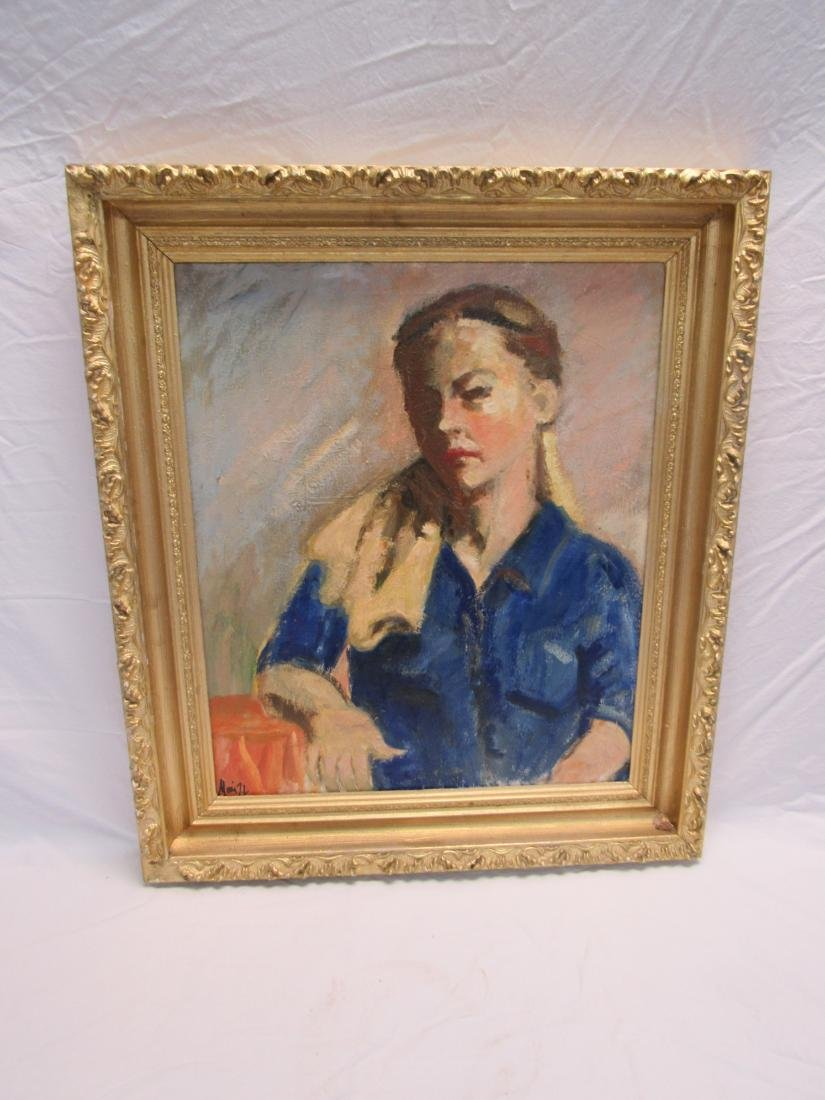 Vintage Oil on Canvas of Woman