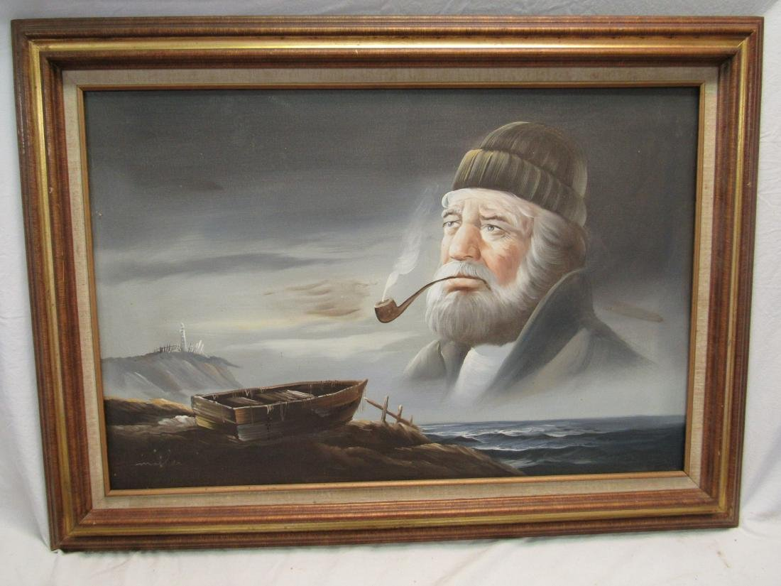 Vintage Oil on Canvas of Lighthouse Keeper