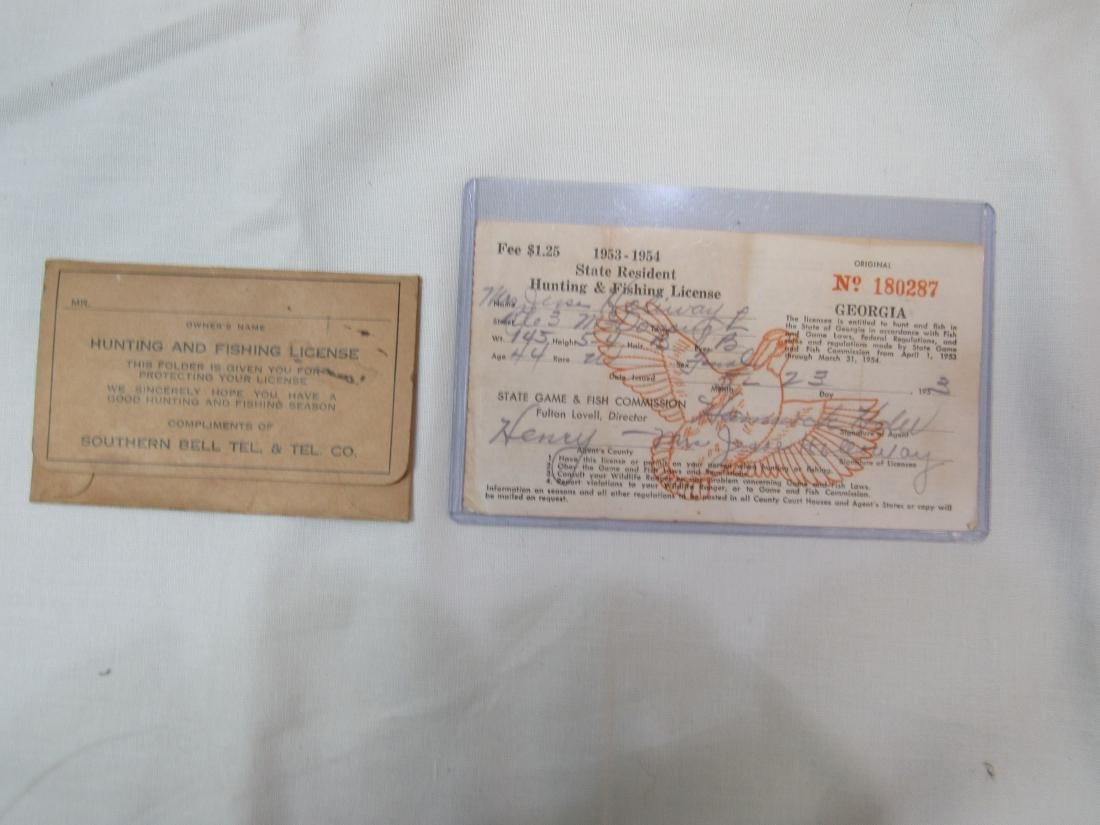 1953/1954 Georgia Hunting License