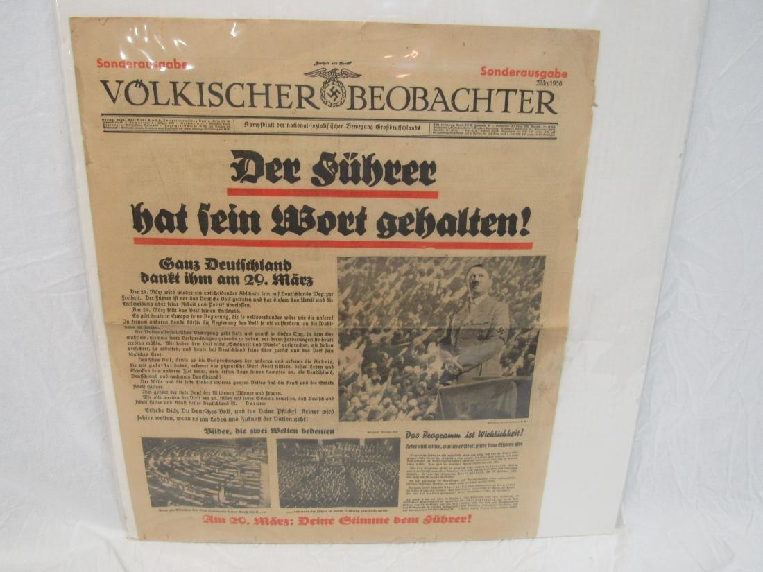 1936 Nazi Germany Newspaper Volkischer Beobachter