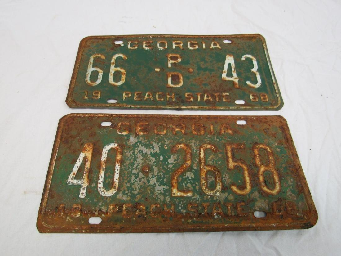 Lot of 2 1968 Georgia Peach State Tags
