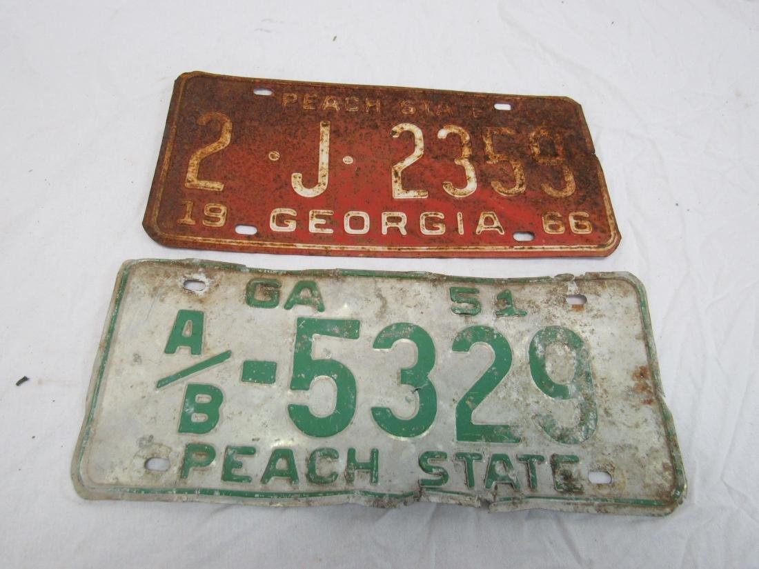 Lot of 2 Georgia Tags 1951 & 1966