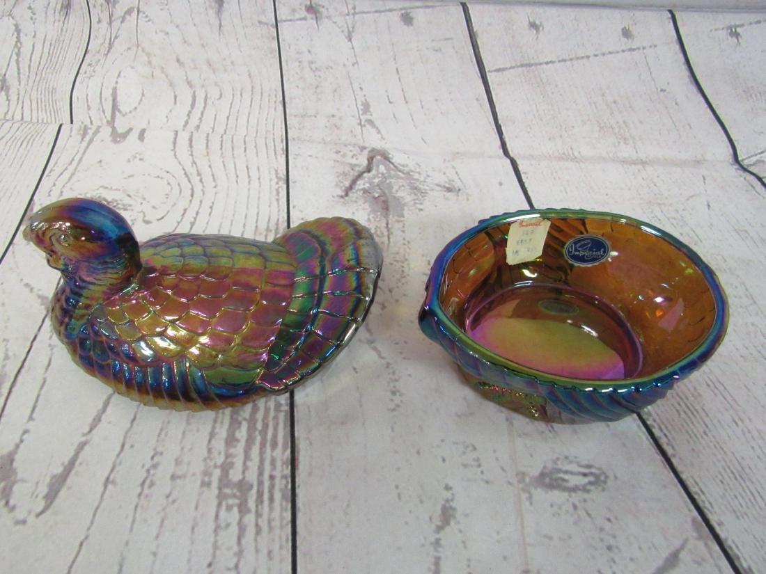 Imperial Carnival Glass Turkey Box - 4