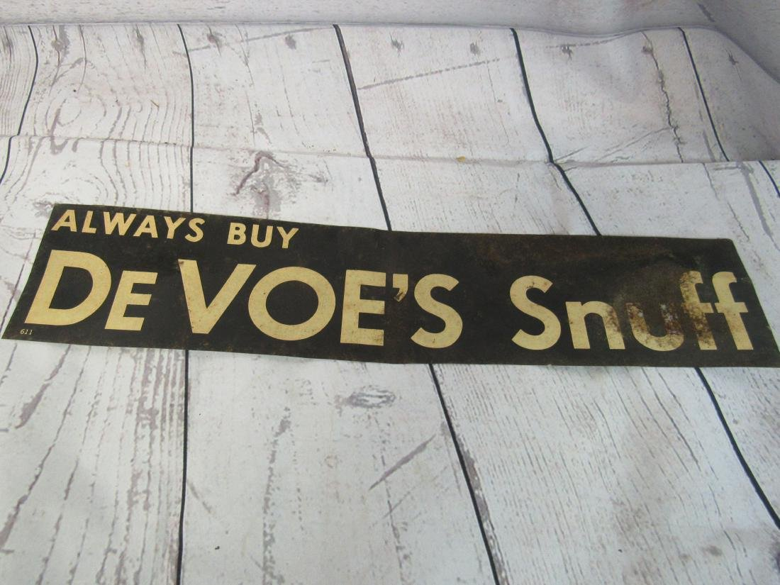 DeVoe's Snuff Tin Tacker Sign