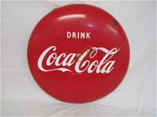 "24"" Drink Coca Cola Porcelain Button"