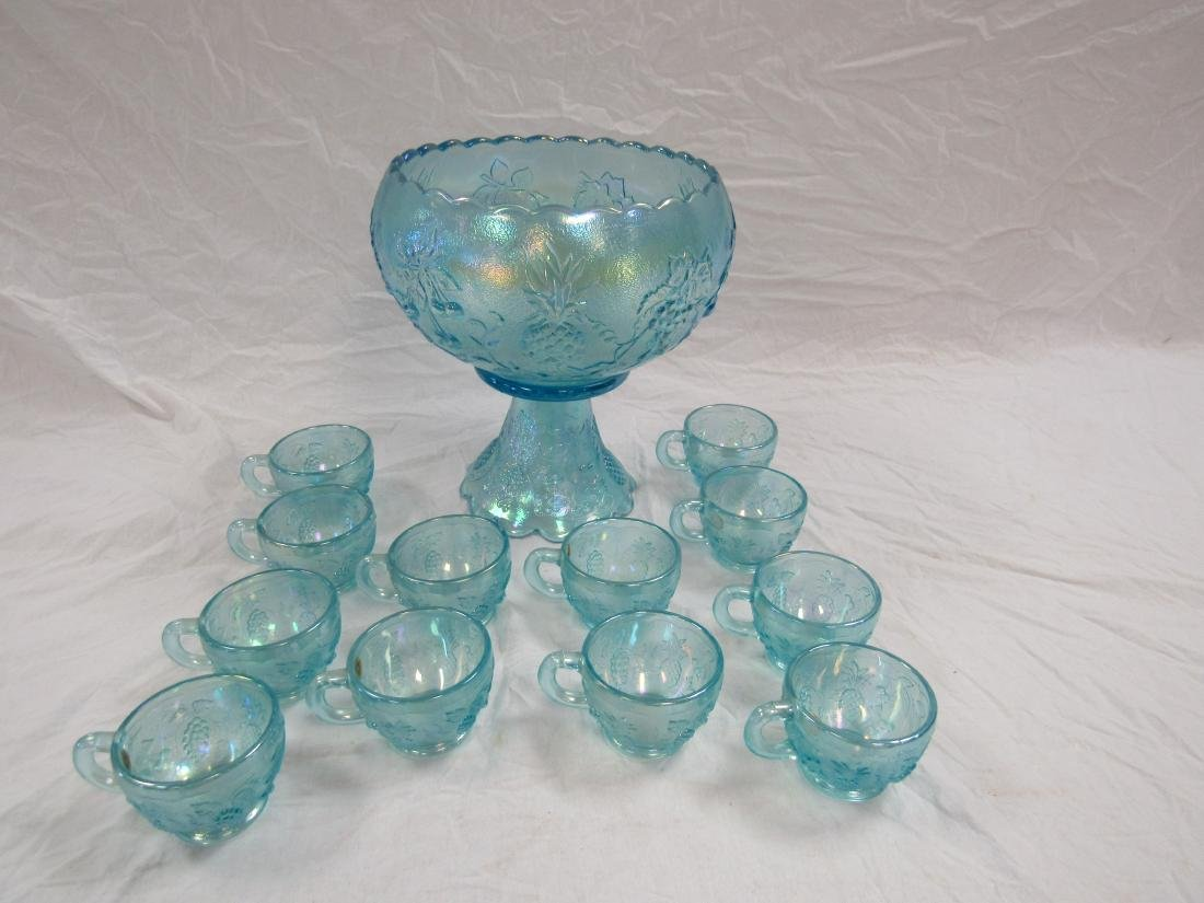Westmoreland Iridescent Blue Punch Bowl Set