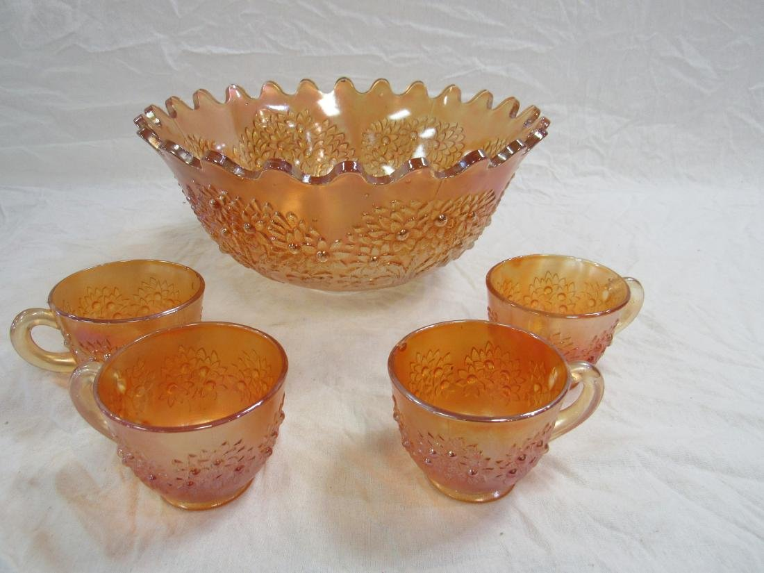 Antique Fenton Orange Tree Punch Bowl Set