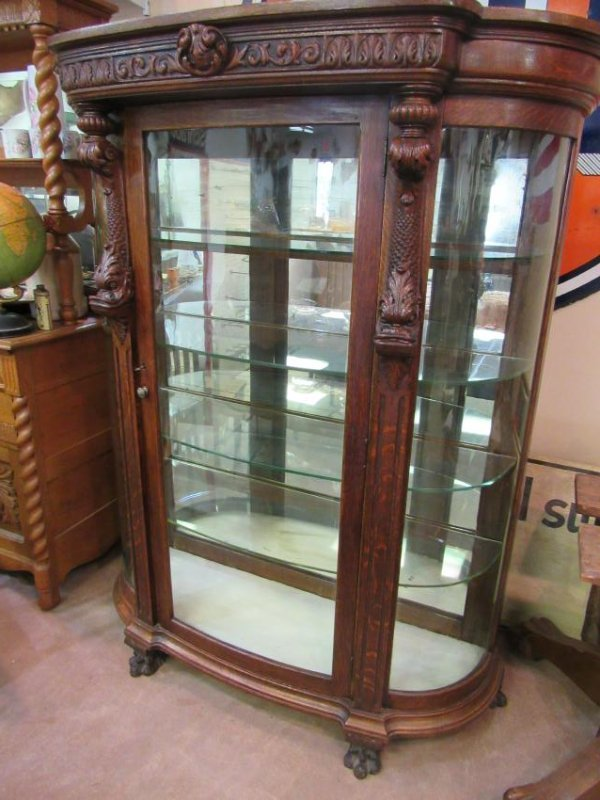 Rare Antique Bow Front China Cabinet