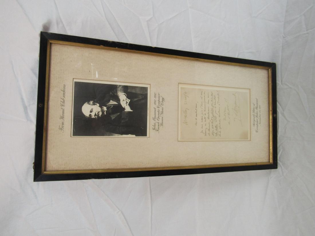Autographed Letter of Composer Jules Massenet