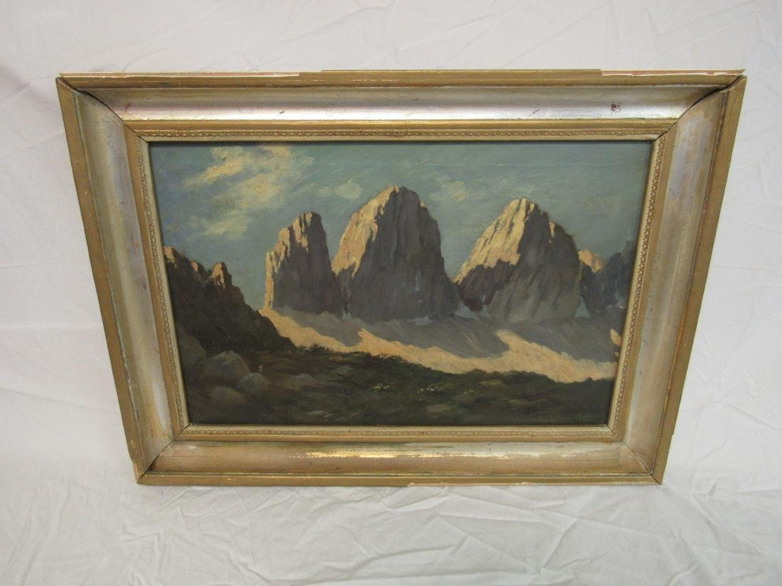 Antique Oil on Canvas snow capped mountain landscape