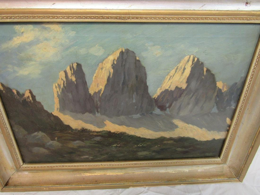 Antique Oil on Canvas snow capped mountain landscape - 2