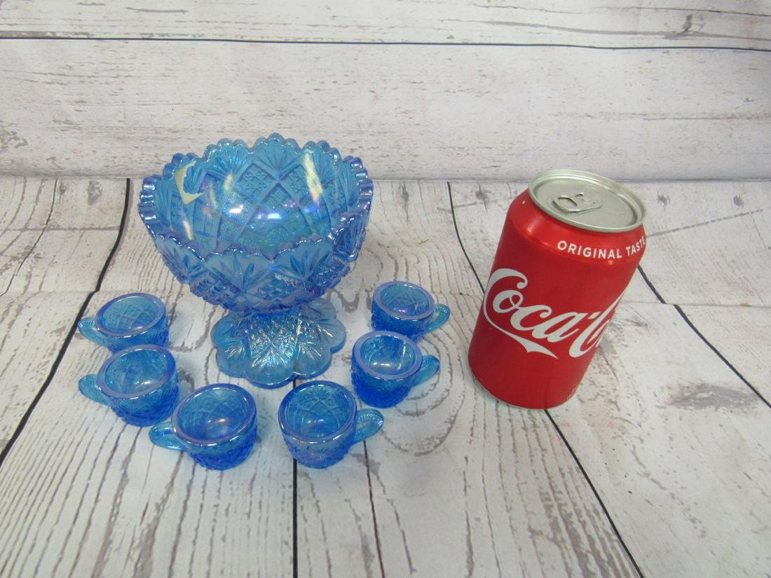 Westmoreland Blue Carnival Mini Punch Bowl Set