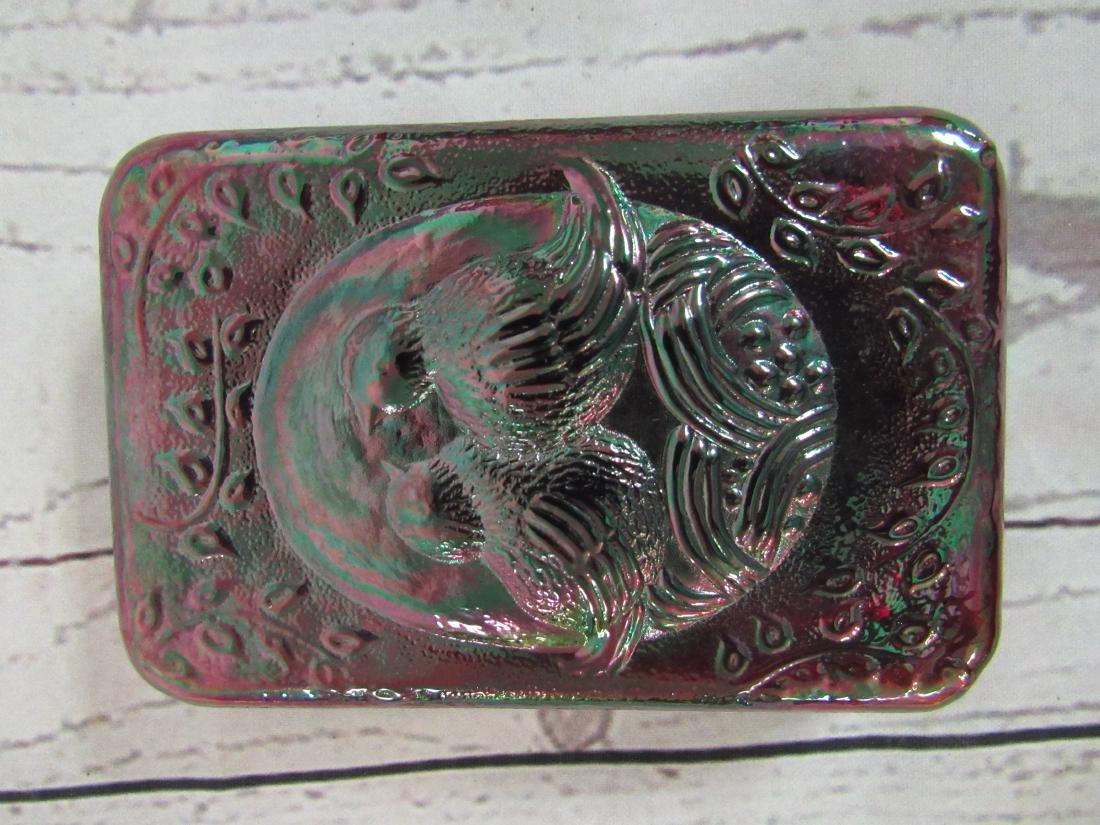 Fenton Purple Carnival Glass Lovebirds Paperweight