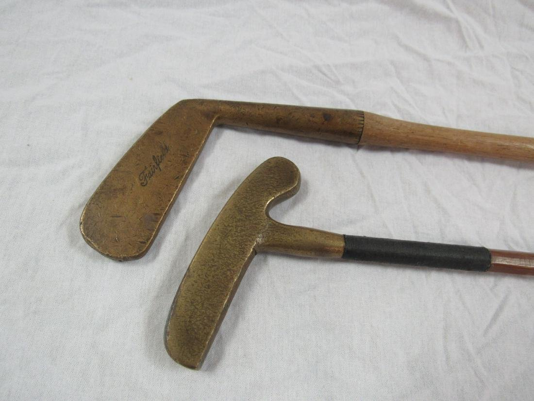 Lot of 2 Antique Brass and Wood Gold Putters - 2