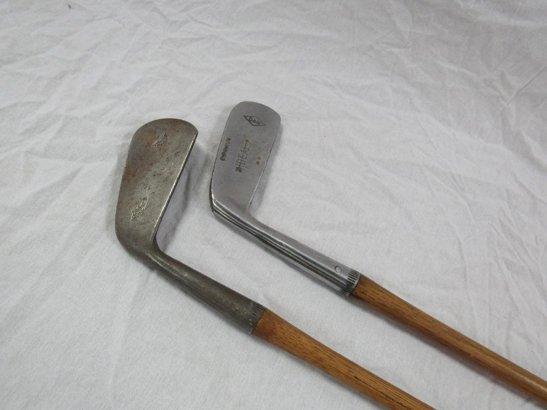 Lot of 2 Antique Lefty Wooden Golf Clubs - 2