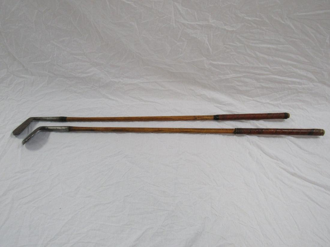 Lot of 2 Antique Wooden Golf Clubs