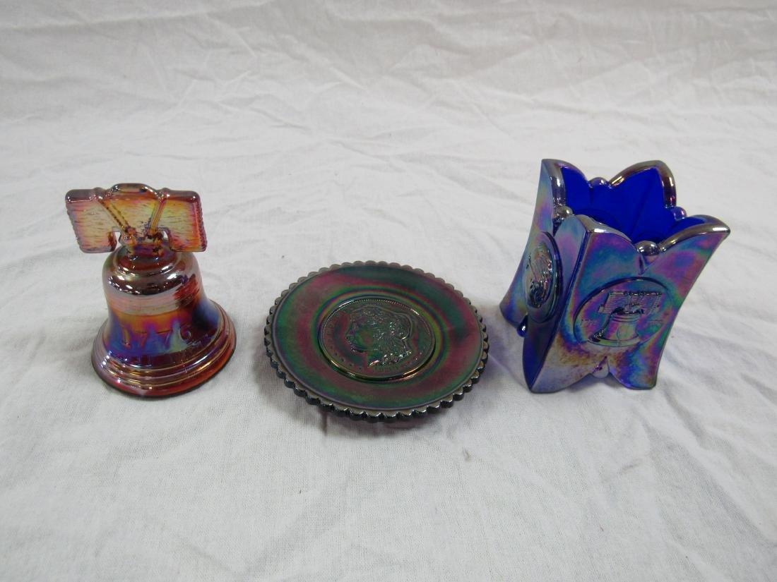 Lot of 3 Joe St. Clair Carnival Glass