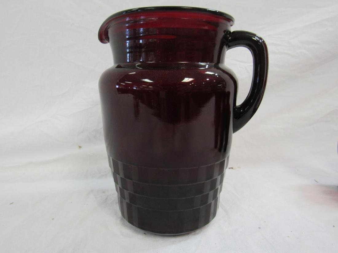 Vintage Ruby Red Pitcher and Tumbler Set