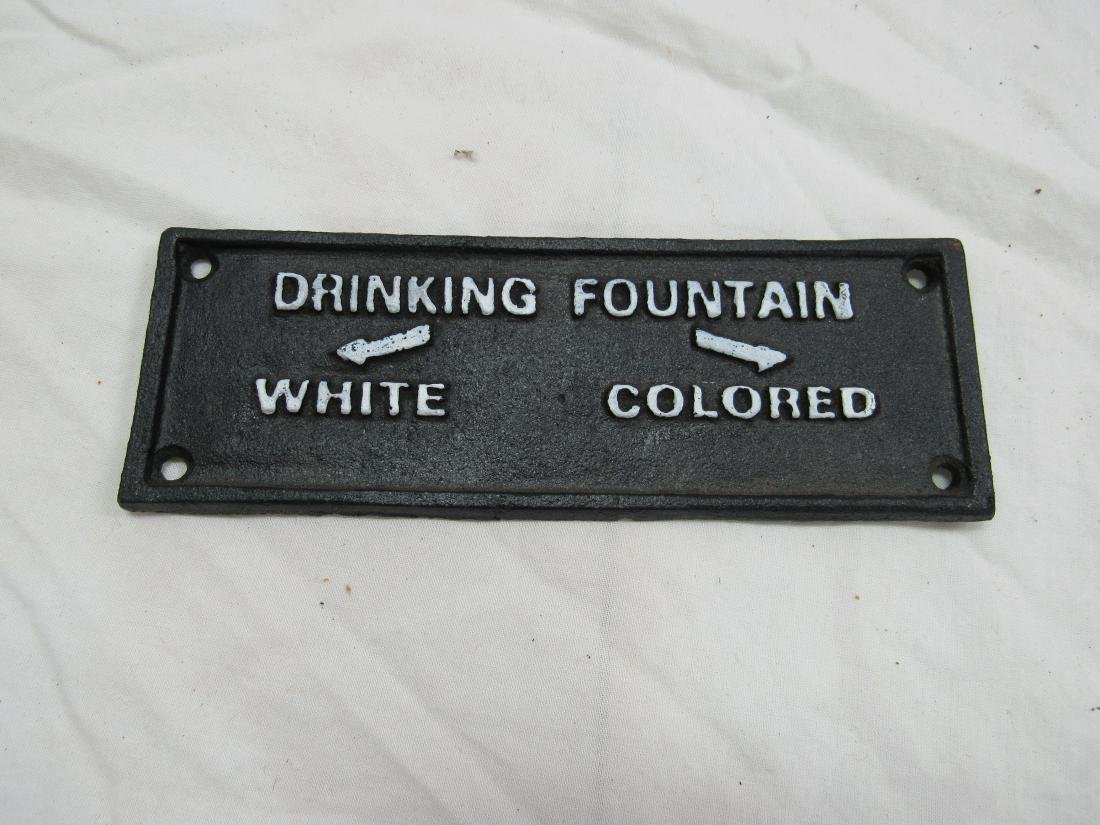 Cast Iron Drinking Fountain Segregation Sign